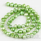 Pearl Beads, Apple Green, 6-7mm dyed, potato shape, Sold per 14.2-inch strand