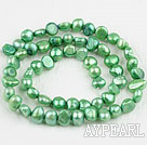 Pearl Beads, Grass Green, 6-7mm dyed, potato shape, Sold per 14.2-inch strand