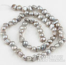Pearl Beads, Grey, 6-7mm dyed, potato shape, Sold per 14.2-inch strand