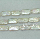 Biwa freshwater pearl beads, white, 5*14*20mm rectangle. Sold per 15-inch strand.