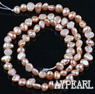 Pearl Beads, Pink, 3-4mm natural, potato shape, Sold per 14.2-inch strand