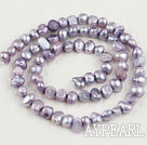 Pearl Beads, Violet, 3-4mm dyed, potato shape, Sold per 14.2-inch strand
