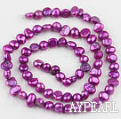 Pearl Beads, Purplish Red, 3-4mm dyed, potato shape, Sold per 14.2-inch strand