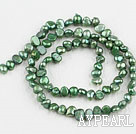 Pearl Beads, Grass Green, 3-4mm dyed, potato shape, Sold per 14.2-inch strand