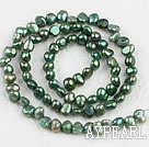 Pearl Beads, Dark Green, 3-4mm dyed, potato shape, Sold per 14.2-inch strand