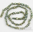 Pearl Beads, Olive Green, 3-4mm dyed, potato shape, Sold per 14.2-inch strand