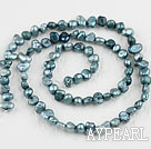 Pearl Beads, Greyish Green, 3-4mm dyed, potato shape, Sold per 14.2-inch strand