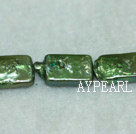 Freshwater pearl beads, green, 5*8*14mm retangle. Sold per 15-inch strand.