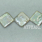 Freshwater pearl beads, white, 3*15mm diagonal square. Sold per 14.6-inch strand.