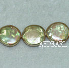 Freshwater pearl beads, yellow, 5*13mm coin. Sold per 15-inch strand.