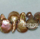 Freshwater pearl beads, golden, 5*14*20 mm top-drilled coin. Sold per 15.4-inch strand.