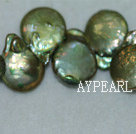Freshwater pearl beads, green, 5*14*20 mm top-drilled coin. Sold per 15.4-inch strand.