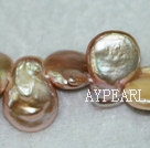 Freshwater pearl beads, purple, 5*14*20 mm top-drilled coin. Sold per 15-inch strand.