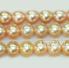 Freshwater pearl beads, orange, 7-8mm round. A grade. Sold per 15.7-inch strand
