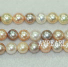 Freshwater pearl beads, multi-color, 7-8mm round. A grade. Sold per 15.7-inch strand