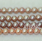 Freshwater pearl beads, multicolor, 6-7mm round. A grade. Sold per 15.7-inch strand