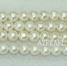Freshwater pearl beads, white, 6-7mm round. A grade. Sold per 15.7-inch strand
