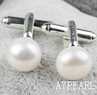 Natural 11.5-12mm White Freshwater Pearl Cufflinks
