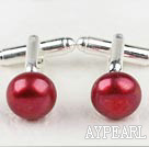 11.5-12mm Red Wine Color Dyed Freshwater Pearl Cufflinks