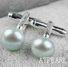 11.5-12mm Light Green Freshwater Pearl Cufflinks