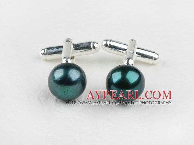 11.5-12mm Peacock Color Freshwater Pearl Cufflinks