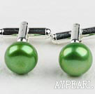11.5-12mm Apple Green Freshwater Pearl Cufflinks
