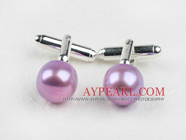 11.5-12mm Violet Color Freshwater Pearl Cufflinks