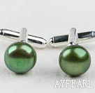 11.5-12mm Olive Green Freshwater Pearl Cufflinks