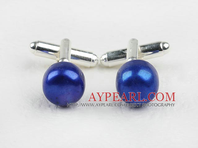 11.5-12mm Dark Blue Freshwater Pearl Cufflinks