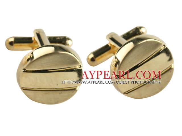 Gold color round shape fashion style cufflinks